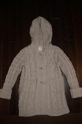 Old Navy Ecru Long Cardigan Sweater Hoodie ~Toggle Buttons ~Pockets ~Girl's 3T