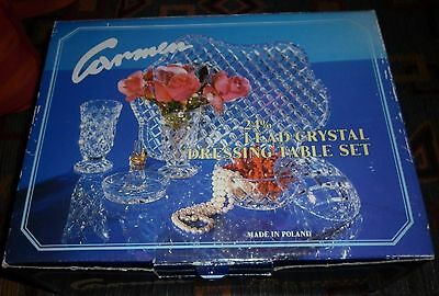 Vintage Polish Crystal Dressing Table Set Unused In Box Great Condition