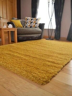 Ochre Gold Small Extra Large Soft Thick Pile Plain Shaggy Living Room Floor Rug