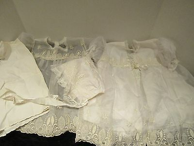 Vintage Four Piece Infants Christening Outfit Lace Coat,Gown,Slip & Hat