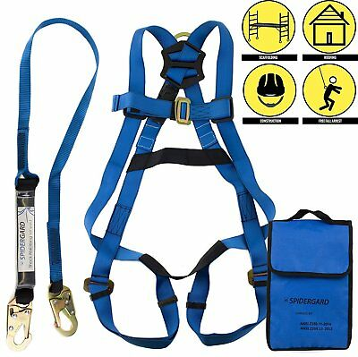 Spidergard SPKIT01 Full Body Fall Protection Safety Harness Combo-blue