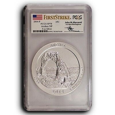 2014-P Arches PCGS SP70 First Strike ATB 5 oz Silver Coin ( Mercanti Signature )