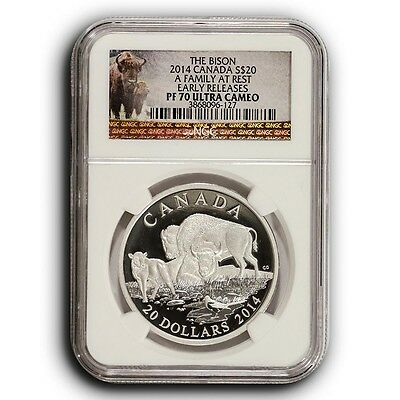 2014 Family at Rest Bison NGC PF70 ER Canada 1 oz Proof Silver Coin