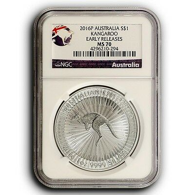 2016 P Kangaroo NGC MS70 Early Releases Australia 1 oz Silver Coin