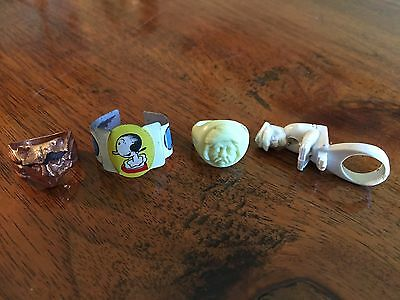 Vintage Lot Of 4 1940s 1950s Cereal Premium Ring Post's Olive Oyl Swami