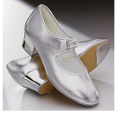 Silver PU cuban heel tap shoes - all sizes
