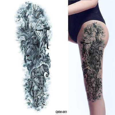 Elephant Knights Lion Black Full Arm Temporary Tattoo Sleeve Stickers Body Art