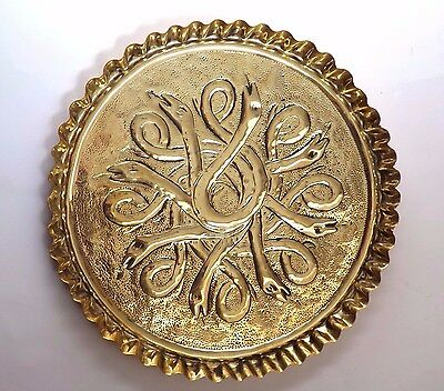 Antique English Arts & Crafts Handmade Brass Serpent Tray - c.1900