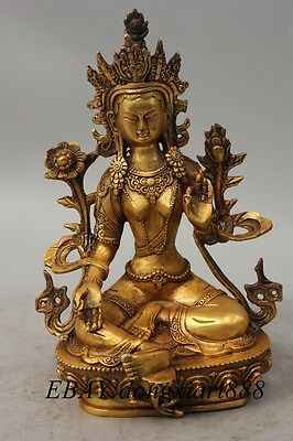 "9"" Tibet Bronze Gilt Green Tara Mahayana enlightenment Goddess Buddha Statue"