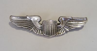 Vintage U.S Airforce WW11 Sterling Silver Winged Cap Badge