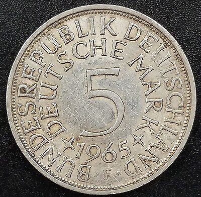1965 F Five Deutsche Mark silver coin from Germany!