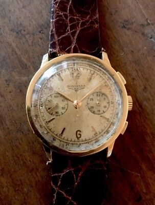 Vintage Chronograph Longines 13zn Flyback Coin Edge Case 18kt Gold Sandwich Dial