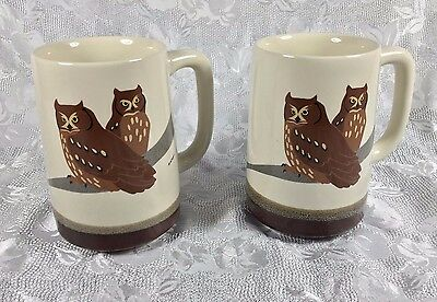 Otagiri Japan Wendy Morgan Brown Owl Cups Mugs Set of 2 EUC