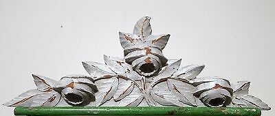 SHABBY PAINT HAND CARVED WOOD PEDIMENT ANTIQUE FRENCH FLOWER SALVAGED CARVING a