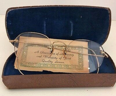 Vintage Pair of 1/10 12Kt GF Rimless Glasses, Bifocals Texas State Optical Case