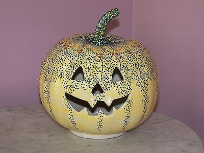 UNIKAT Polish Pottery Large Jack O Lantern Tea Light!  Miss Daisy Pattern!