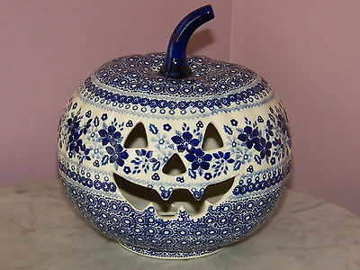 UNIKAT Polish Pottery Large Jack O Lantern Tea Light! Rembrandt in Blue Pattern!