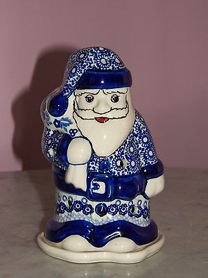 UNIKAT Polish Pottery Santa Tea Light! Rembrandt in Blue Pattern!
