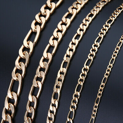 Fashion Gold Plated Curb Link Chain Men Italy Figaro Necklace 18-36 inch Gifts