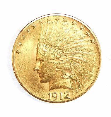 1912 GOLD Indian Head Eagle $10 Coin ALMOST UNCIRCULATED