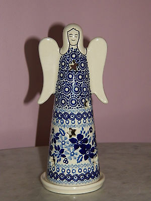 UNIKAT Polish Pottery Small Angel Tea Light! Rembrandt in Blue Pattern!