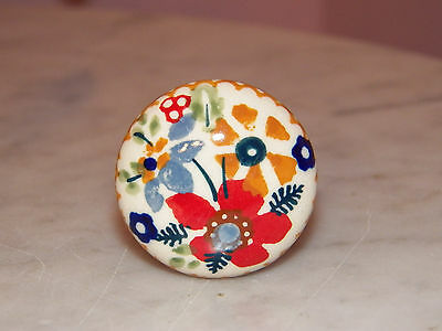 "Polish Pottery UNIKAT 1.5"" Diameter Drawer Pull! Rembrandt Pattern!"