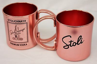2 Stoli Vodka Copper Aluminum Cup Mug