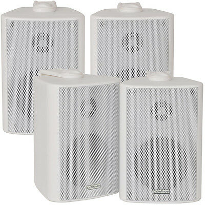 """2x Pair 2 Way Compact Stereo Speakers - 3"""" 60W 8Ohm- White Wall Mounted Surround"""