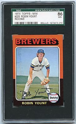 1975 Topps Mini #223 Robin Yount Rookie Card Rc, Milwaukee Brewers - Sgc 86 Nm+