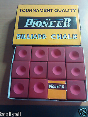 RED Pioneer Chalk Box of 12  Pool Snooker Billiard Table chalk