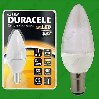 2x 4W (=25W) Duracell LED Frosted Candle SBC B15 Warm White Light Bulb Lamp