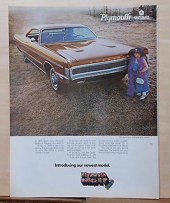 1969 magazine ad for Plymouth - photo of 1970 Sport Fury, halloween costume girl