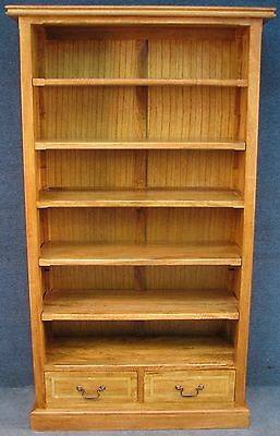 Tall Solid Wood 2 Drawer Bookcase / Bookshelves