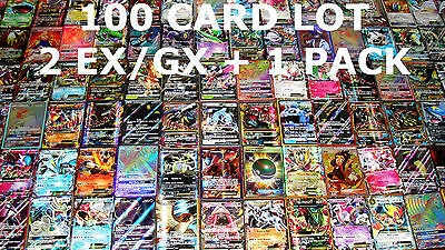 Pokemon 100 Card Lot - GUARANTEED 2 EX / GX & 1 Pack - Full Art Mega Secret Holo