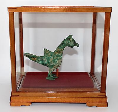 Ancient Bronze Age Holy Land Bird Figure In Wood / Glass Display Case  #m-086