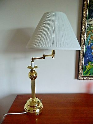 Lovely Large Vintage Brass Swivel Reeded Column Table Lamp Antique Style 10+