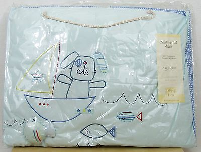 Fish And Chips Cot Quilt - Lollipop Lane - Puppy / Fish - New - Boy Baby Nursery