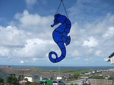 Handmade Stained Glass seahorse Sun-catcher made in royal blue textured glass