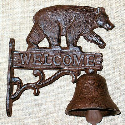 NEW~Cast Iron Welcome Sign Bear Bell Double Sided~Nice Sound~Door Porch