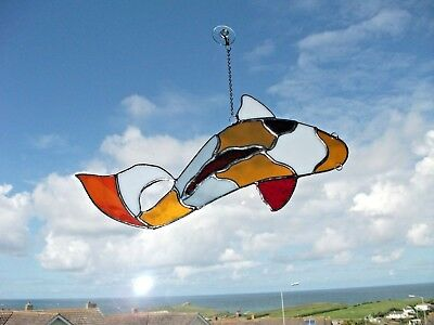 Handmade Stained Glass Koi carp Sun-catcher made in multicolored glass