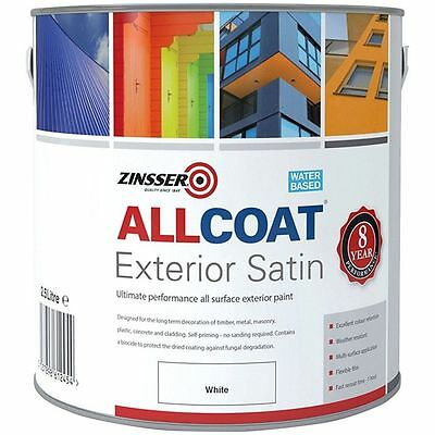 Zinsser Allcoat Multi-Surface Self-Primer Extérieur 8 An Wb Satin Blanc 2.5L