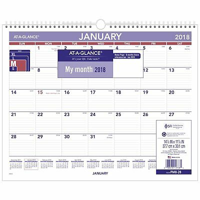 At-A-Glance PM828 Monthly Wall Calendar, 15 X 12, Red/blue, 2018
