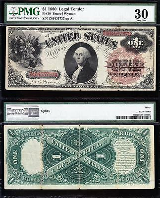 "NICE *RARE* Bold & Crisp VF++ $1 1880 US Note! ""LG. BROWN SEAL""! PMG 30 46453737"