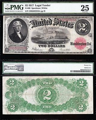 VERY NICE Bold Crisp VF $2 1917 BRACELET US Note! PMG 25! FREE SHIP! D96302316A
