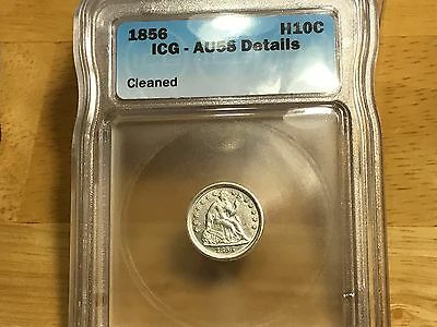1856 SEATED LIBERTY HALF Dime ICG AU58 DETAILS FREE SHIPPING!! NICE TYPE COIN!!!