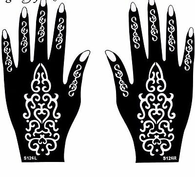 Tribal Mehndi Henna Stencils Hands Simple Design Sheets Kit Templates Patterns