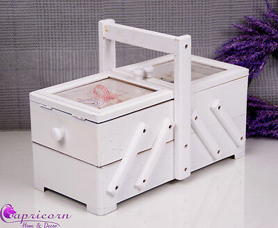 WOODEN Extra LARGE SEWING BOX VINTAGE STYLE HAND CRAFTED WHITE #76