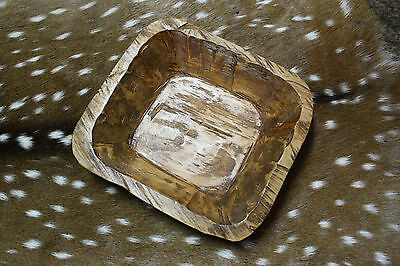 Carved Wooden Dough Bowl Primitive Wood Trencher Tray Rustic Home Decor 11 inch