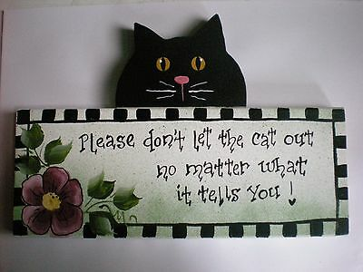 Cute Cat Sign - Hand Painted.  The crazy cat lady lives here !