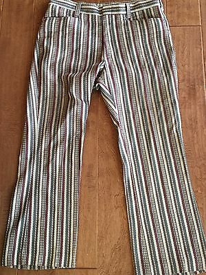 ATOMIC Vtg Levi's Sta-Prest Mens Striped Tweed Pants Taupe SIZE 34 28 INSEAM